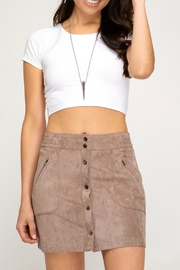 She + Sky Faux-Suede Button-Down Mini-Skirt - Front cropped