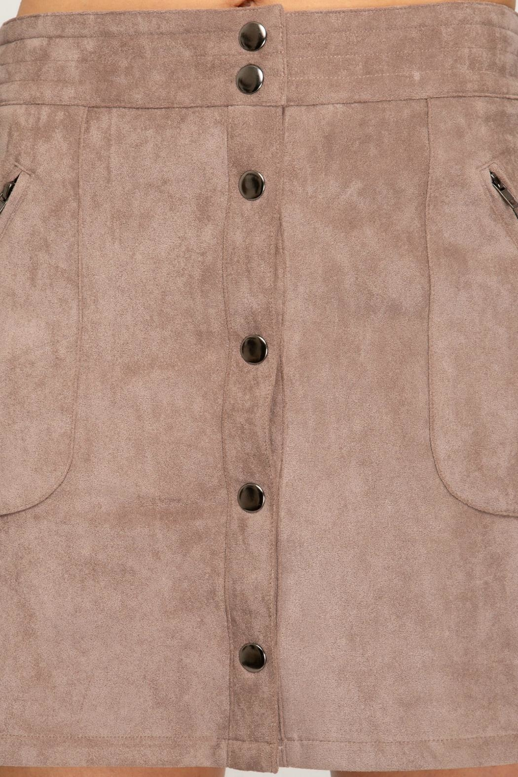 She + Sky Faux-Suede Button-Down Mini-Skirt - Back Cropped Image