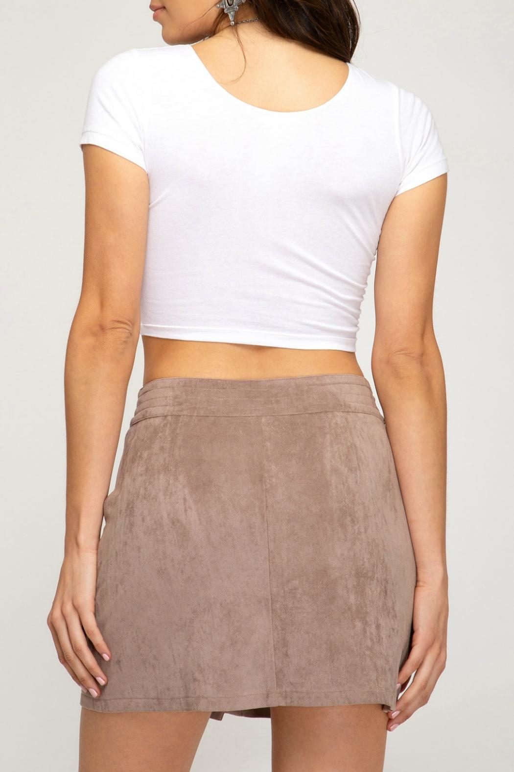 She + Sky Faux-Suede Button-Down Mini-Skirt - Front Full Image