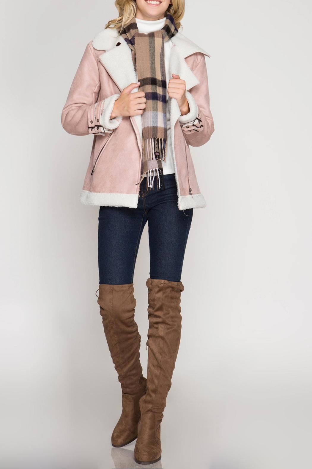 She + Sky Faux Suede Jacket - Front Full Image