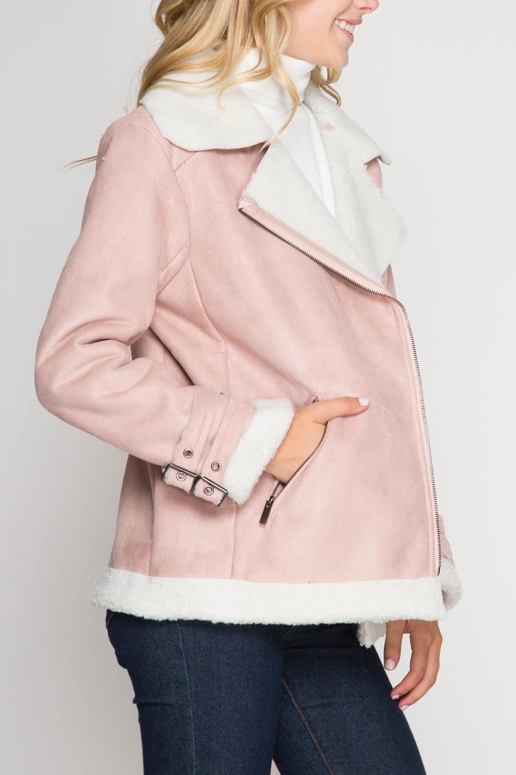 She + Sky Faux Suede Jacket - Side Cropped Image