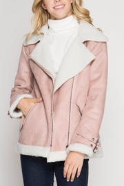 She + Sky Faux Suede Jacket - Front cropped