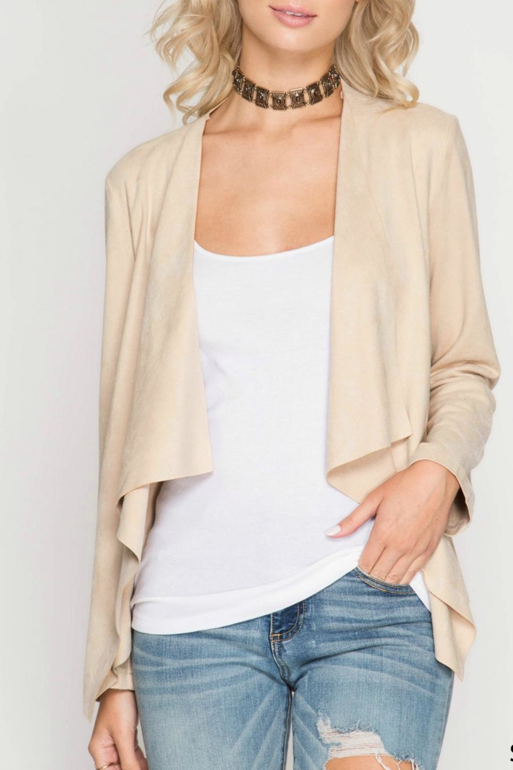 She + Sky Faux Suede Jacket - Front Cropped Image