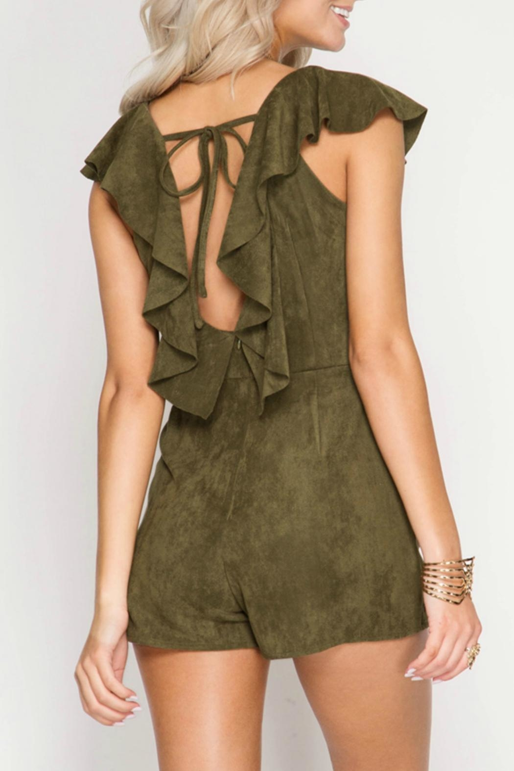 She + Sky Faux Suede Romper - Front Full Image