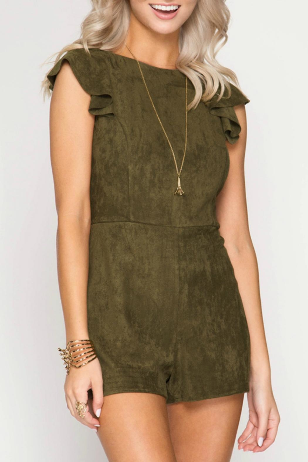 She + Sky Faux Suede Romper - Main Image