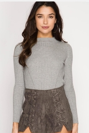 She + Sky Faux Suede Shorts - Front cropped