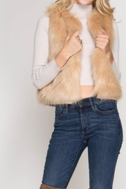 She + Sky Fauxfur Short Vest - Front full body