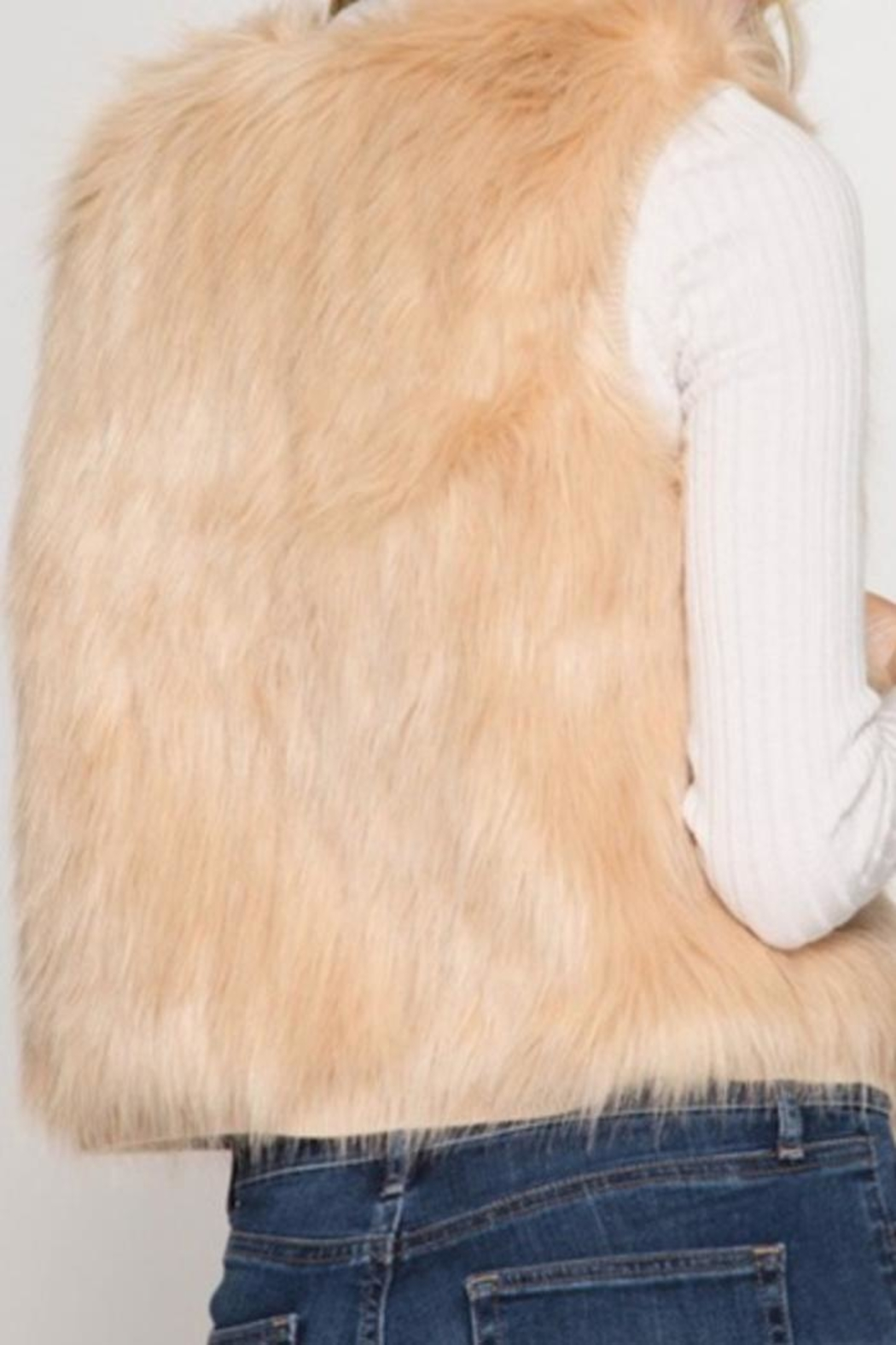 She + Sky Fauxfur Short Vest - Side Cropped Image