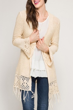 Shoptiques Product: Flare Sleeve Crochet Cardigan