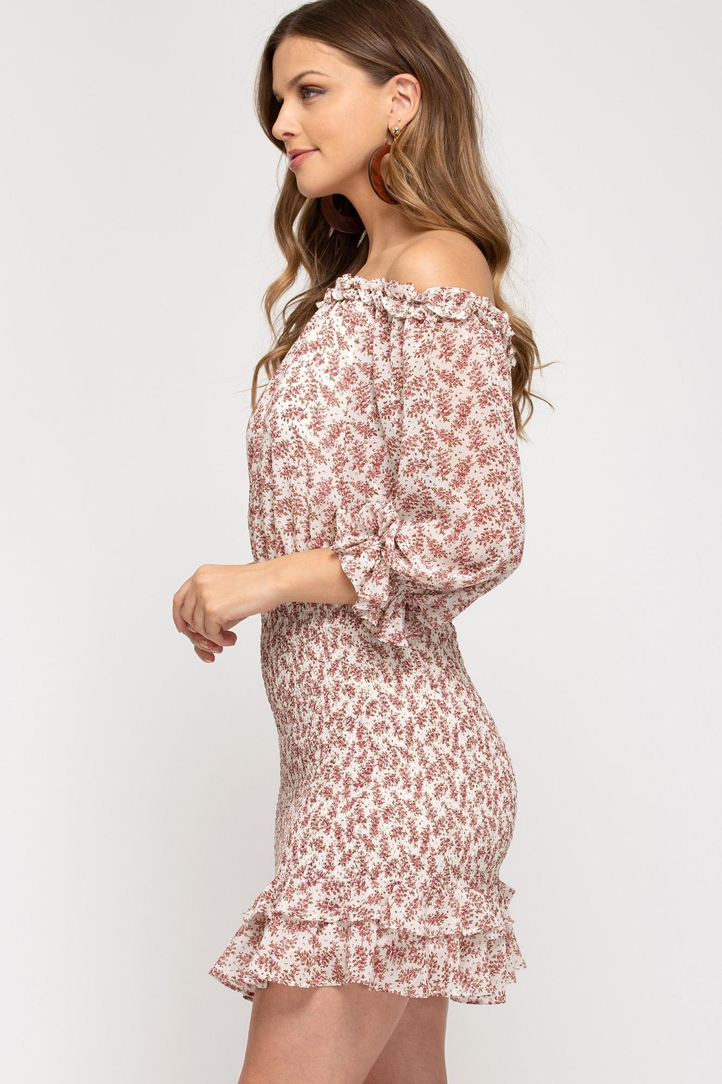 She + Sky Floral Blossoms Dress - Side Cropped Image