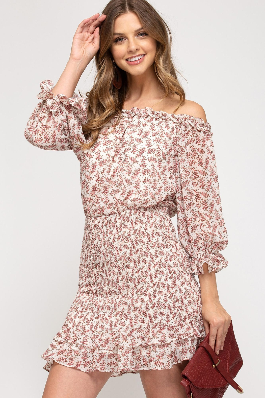 She + Sky Floral Blossoms Dress - Front Full Image