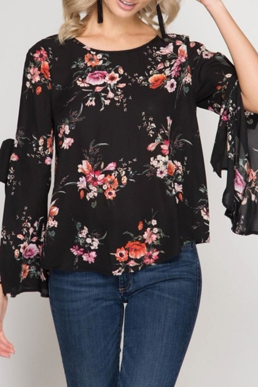She + Sky Floral Blouse - Main Image
