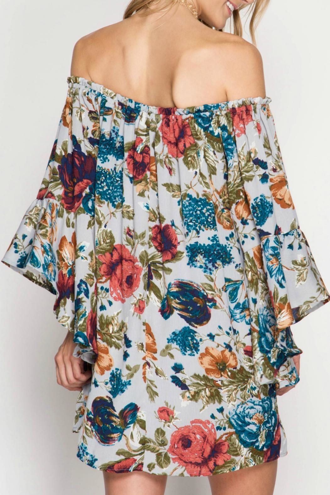She + Sky Floral Dress - Front Full Image