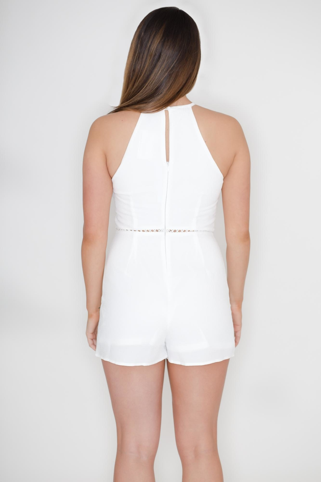 She + Sky Floral Embroidered Romper - Back Cropped Image