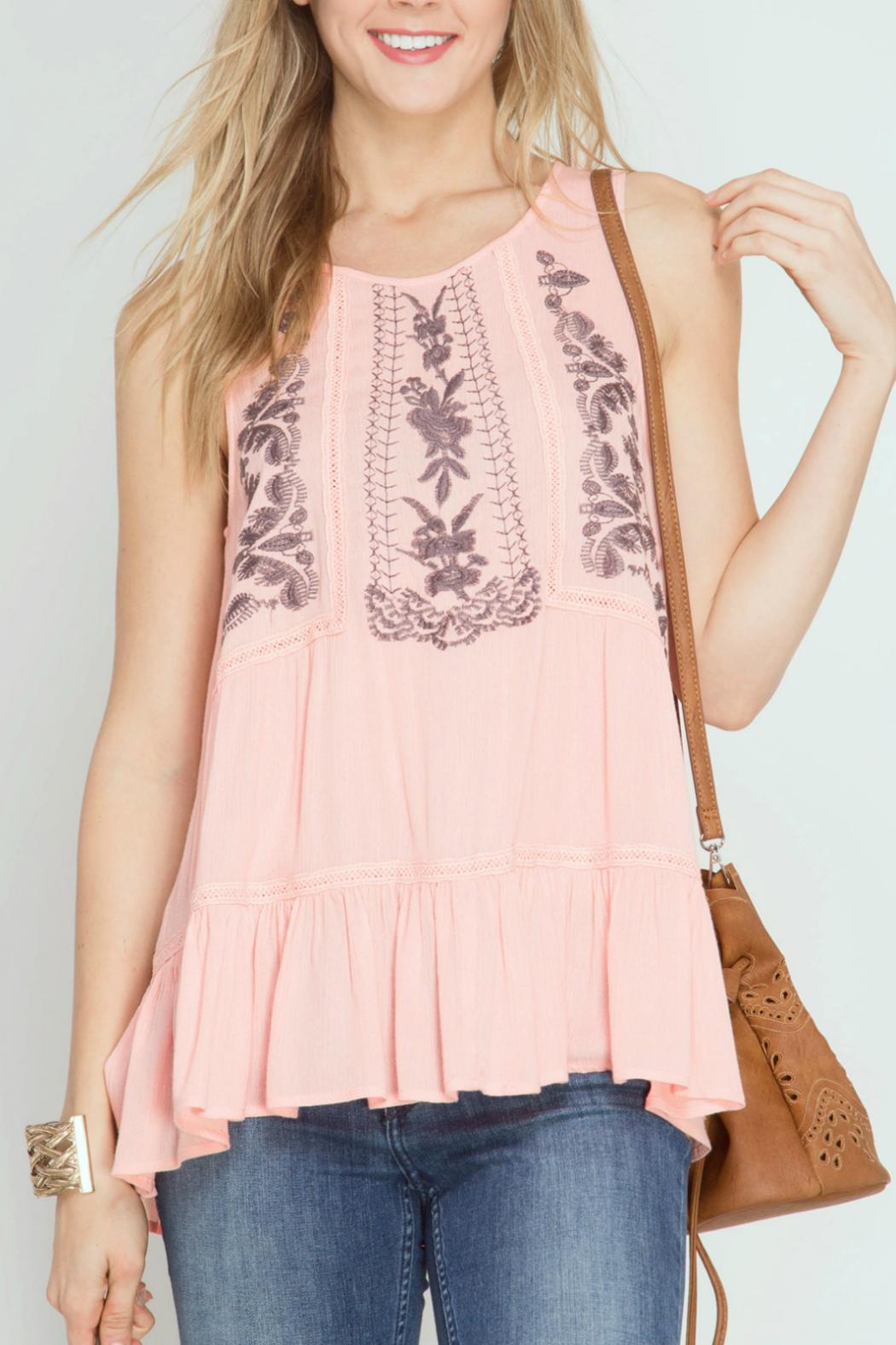 She + Sky Floral Embroidered Top - Main Image