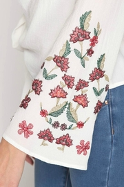She + Sky Floral-Embroidered Wrap Top - Other