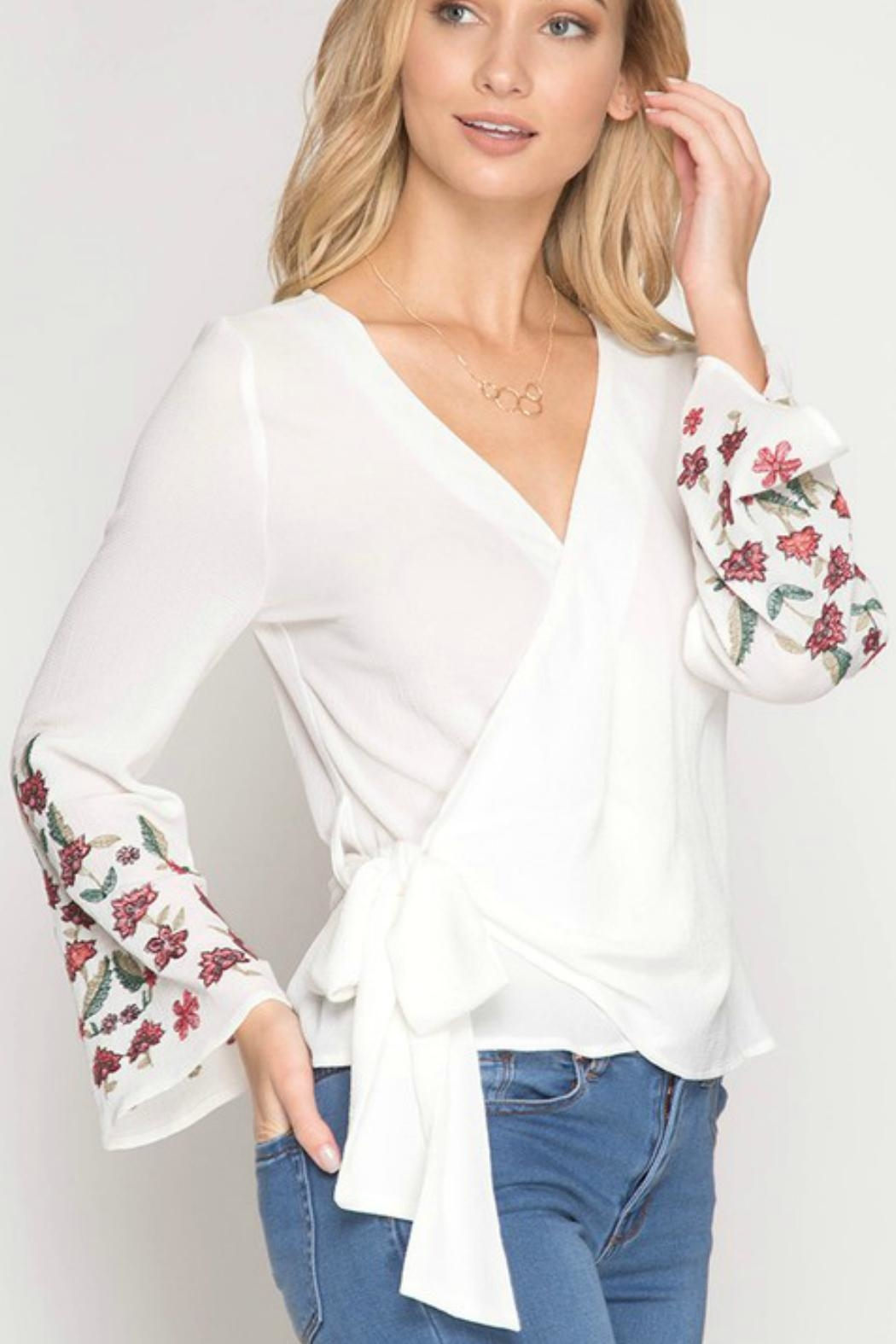She + Sky Floral-Embroidered Wrap Top - Main Image