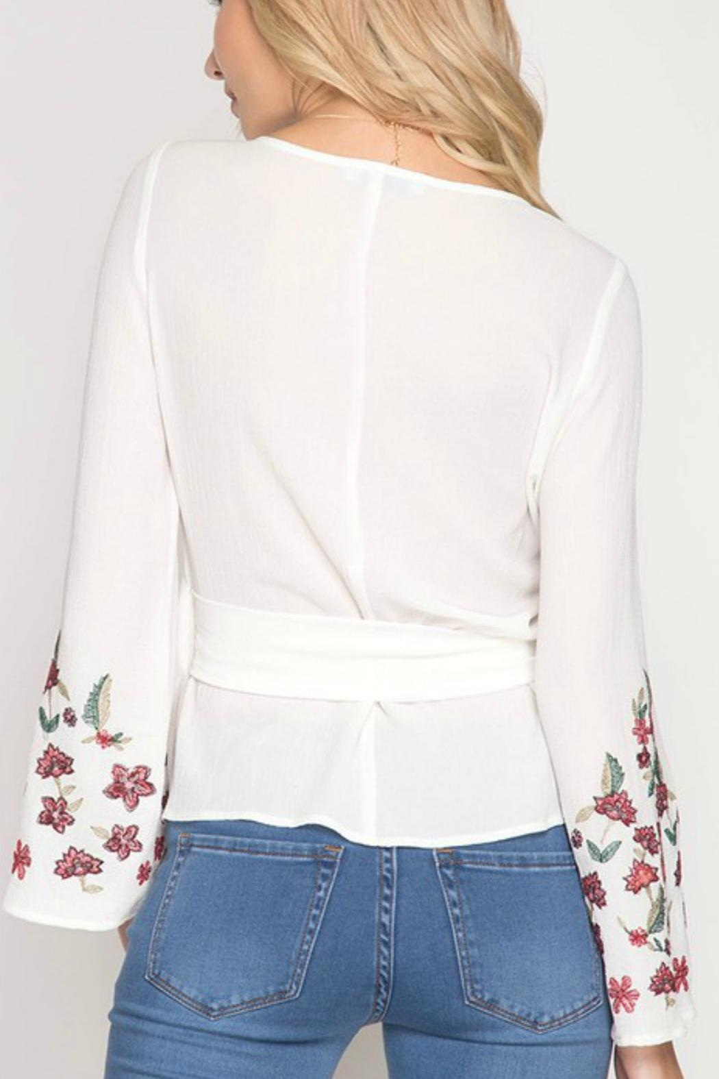 She + Sky Floral-Embroidered Wrap Top - Front Full Image