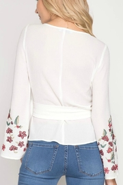 She + Sky Floral-Embroidered Wrap Top - Front full body