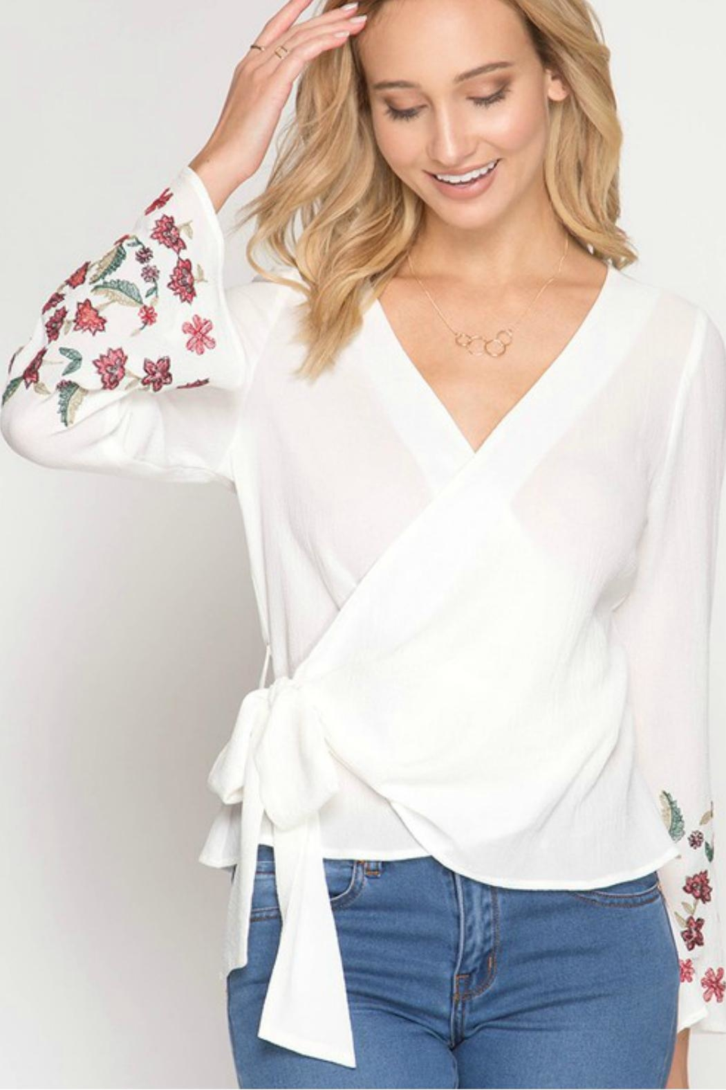 She + Sky Floral-Embroidered Wrap Top - Side Cropped Image