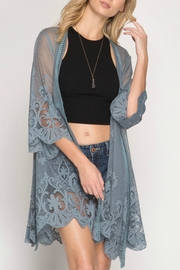 She + Sky Floral Laced Kimono - Front cropped