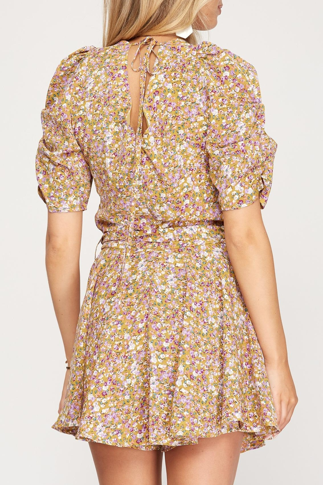She + Sky Floral Puff Sleeve Romper - Front Full Image