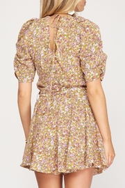 She + Sky Floral Puff Sleeve Romper - Front full body
