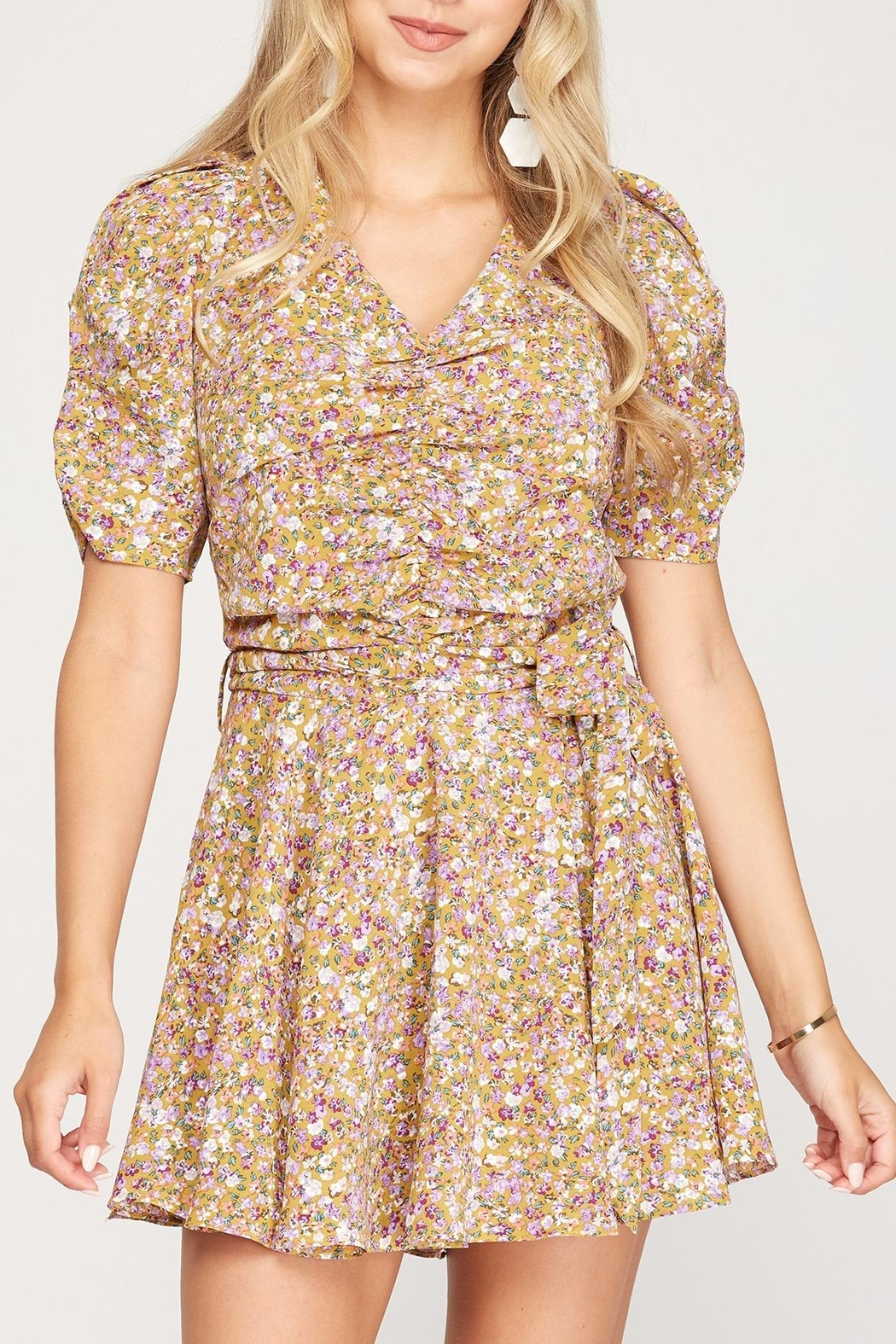 She + Sky Floral Puff Sleeve Romper - Main Image