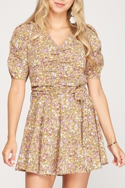 She + Sky Floral Puff Sleeve Romper - Product Mini Image