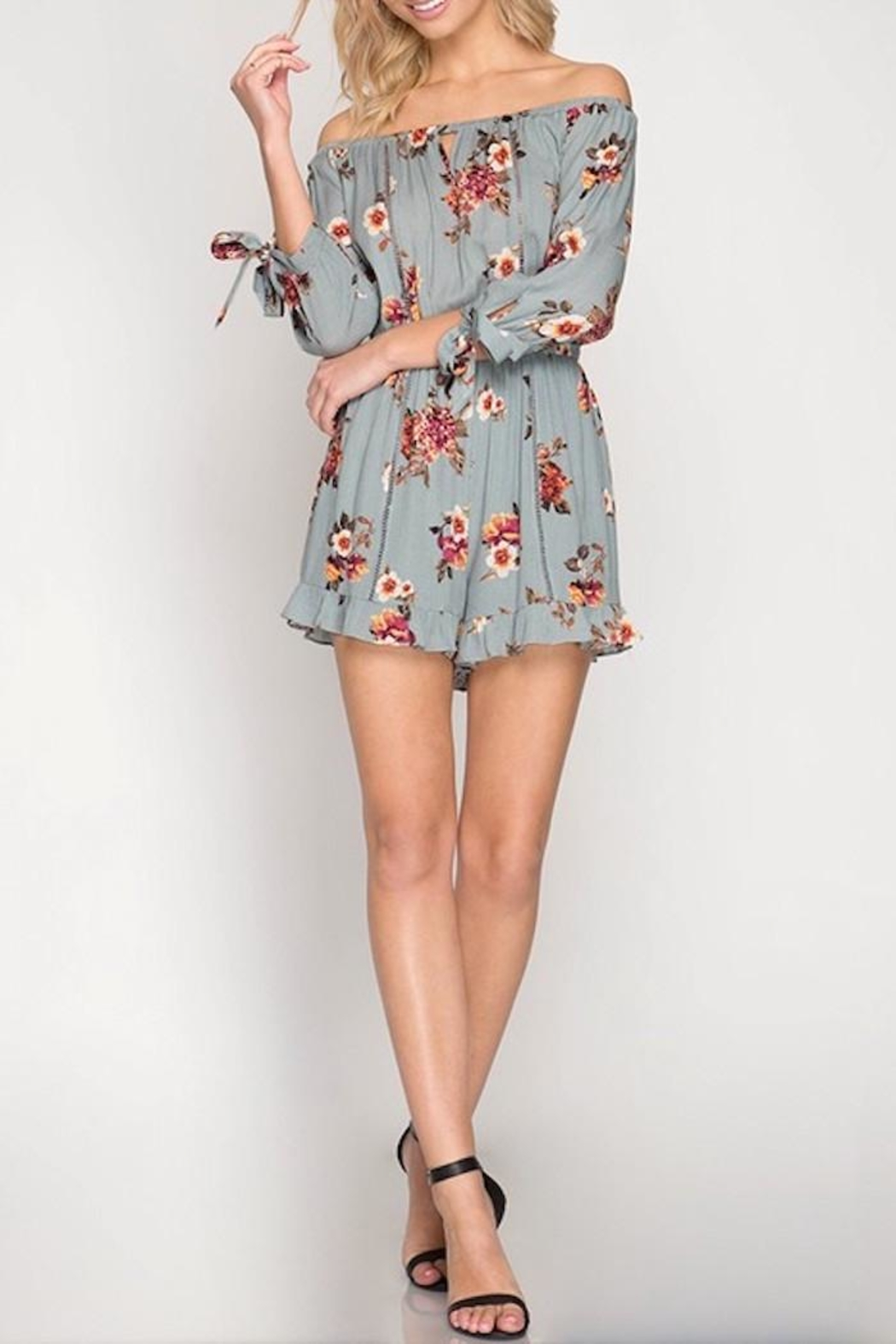 She + Sky Floral Romper - Front Cropped Image