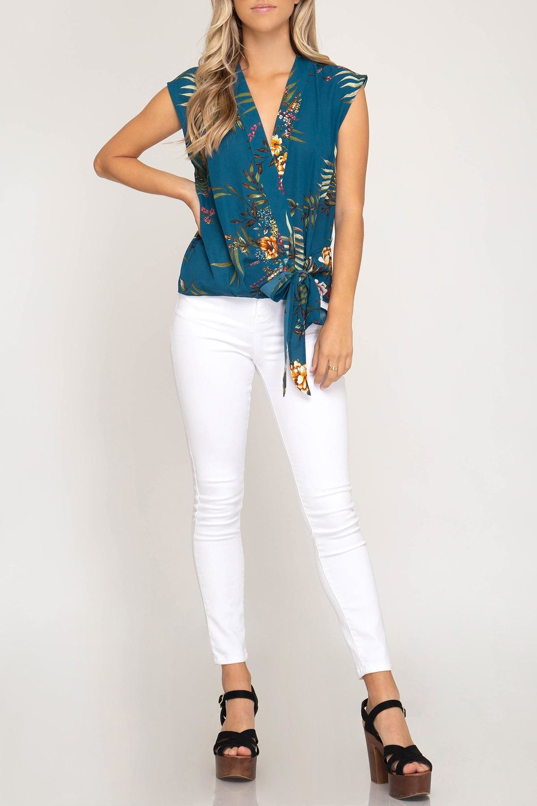 She + Sky Floral Side-Tie Top - Front Full Image
