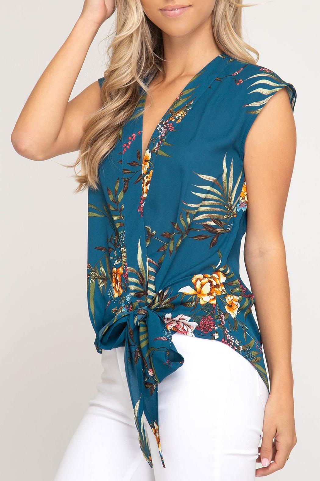 She + Sky Floral Side-Tie Top - Main Image