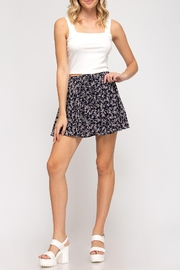 She + Sky Floral Flutter Skirt - Front full body