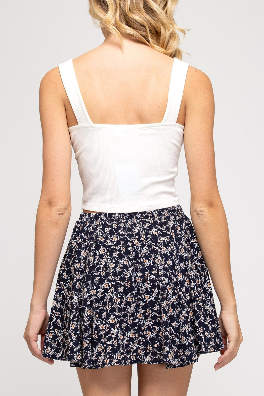 She + Sky Floral Flutter Skirt - Back Cropped Image