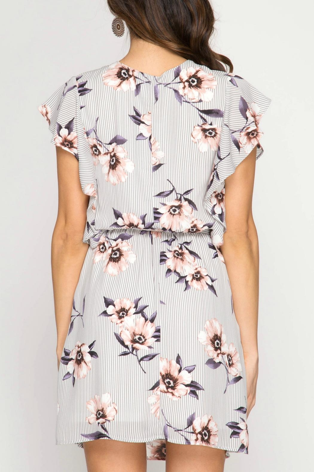 She + Sky Floral Striped Dress - Front Full Image
