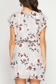 She + Sky Floral Striped Dress - Front full body
