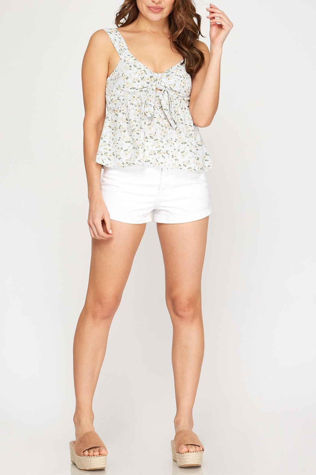 She + Sky Floral Tie Front Tank - Front Full Image