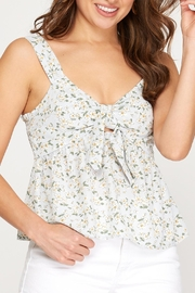 She + Sky Floral Tie Front Tank - Back cropped