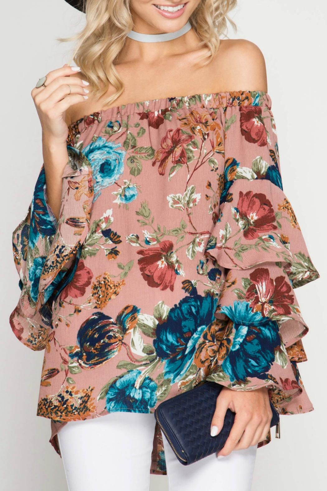 She + Sky Floral Top - Front Cropped Image