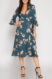 She + Sky Floral Wrap Dress - Product Mini Image