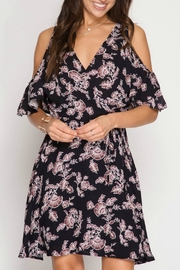 She + Sky Floral Wrap Dress - Front cropped