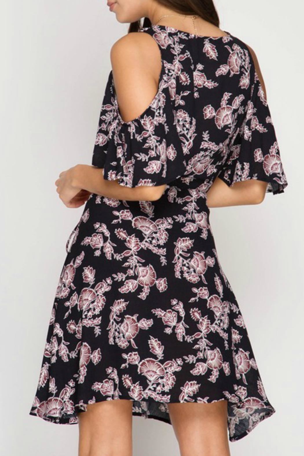 She + Sky Floral Wrap Dress - Front Full Image