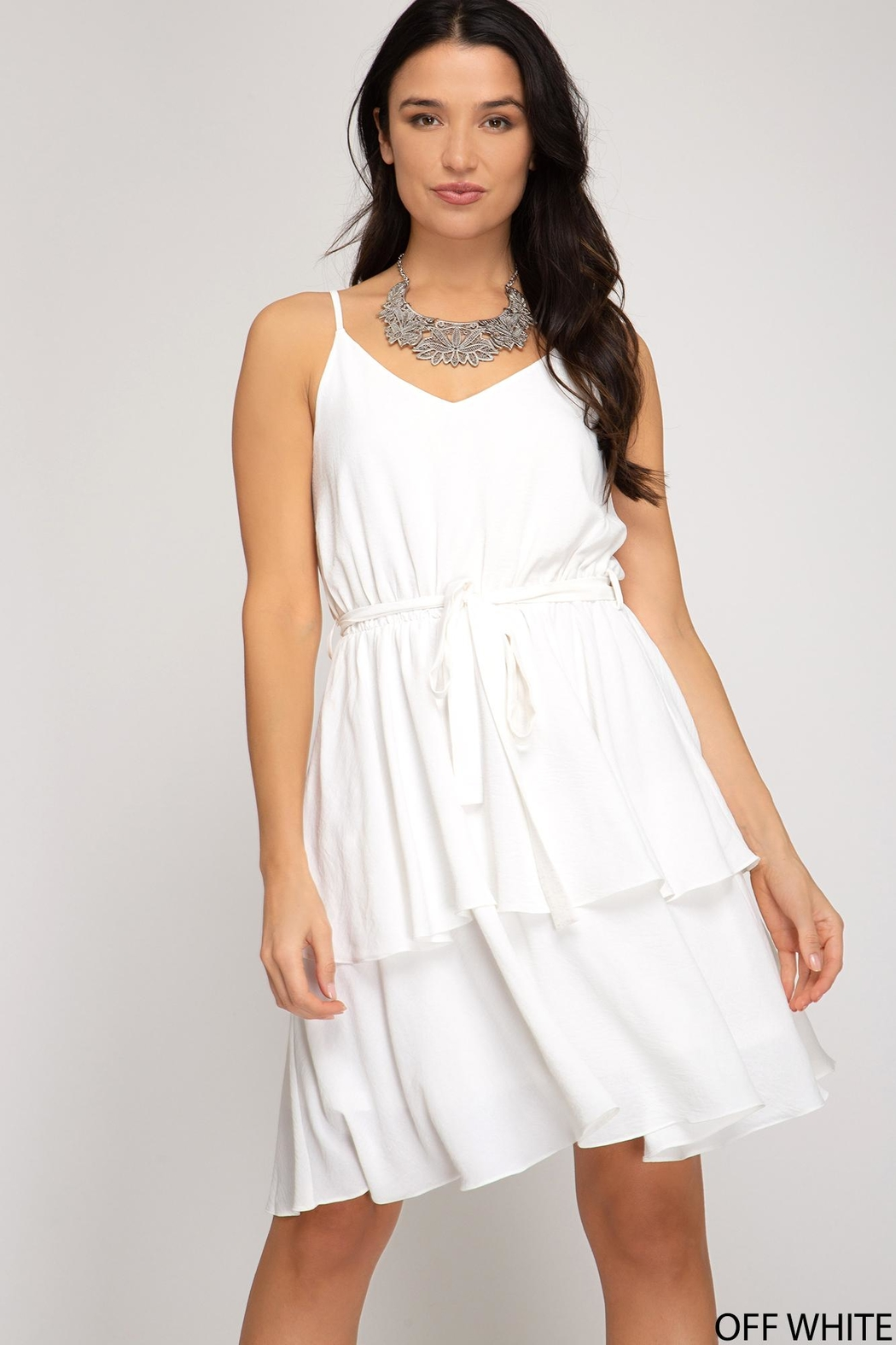 She + Sky Flower White Dress - Front Cropped Image