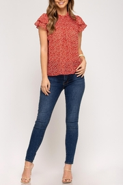 She + Sky Flutter Sleeve Top - Front cropped