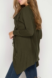 She + Sky Fringe Asymmetrical Cardigan - Front full body
