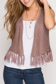 She + Sky Fringe Sweater Vest - Product Mini Image