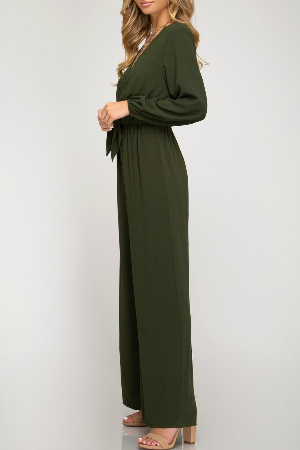She + Sky Front Tie Jumpsuit - Back Cropped Image