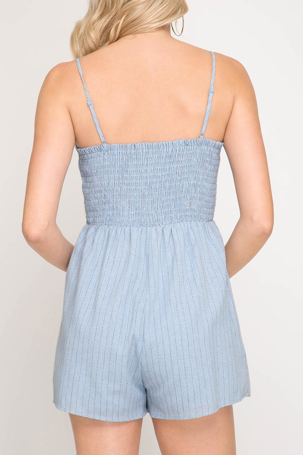 She + Sky Front Tie Romper - Side Cropped Image
