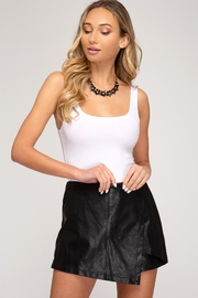 She + Sky Front Wrap Faux Leather Shorts - Product Mini Image