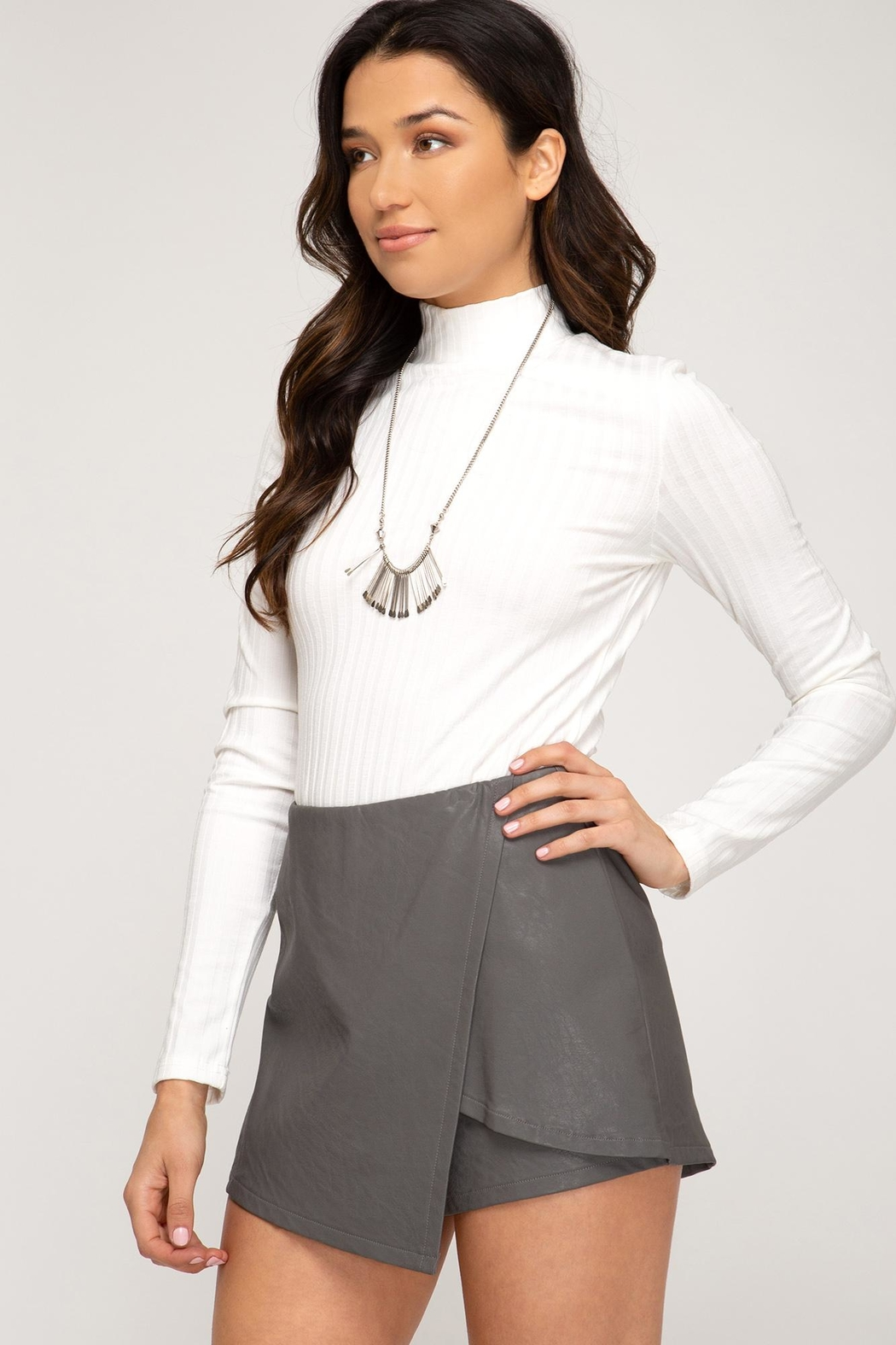 She + Sky Front Wrap Faux Leather Shorts - Side Cropped Image